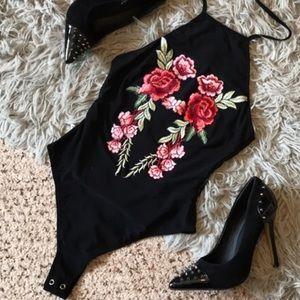 LF Embroidered Flower Mesh Halter Bodysuit